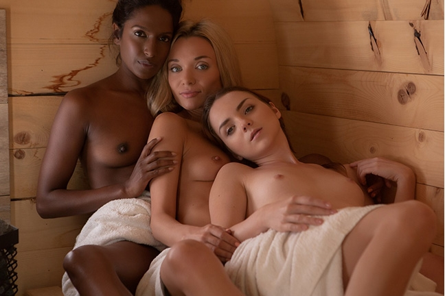 Zhenya, Nirmala and Kate in Cozy Cabin